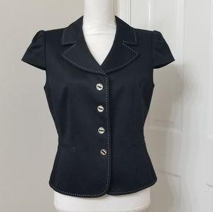 TAHARI Black Short Sleeves Blazer